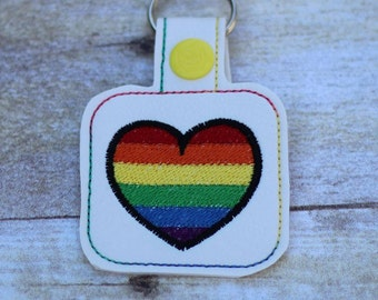 RAINBOW Heart - Equality - PRIDE - In The Hoop - Snap/Rivet Key Fob - DIGITAL Embroidery Design