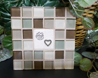 """Green Brown Tan Glass Mosaic Tile Trivet with """"Love"""" and Heart 6"""" x 6"""""""