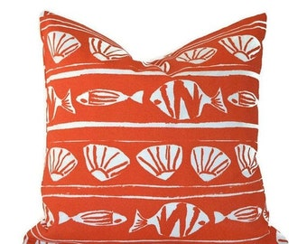 """CLEARANCE SALE 18""""x18"""" Pillow Covers Decorative Pillows Orange Pillows Premier Prints Caicos Orange"""