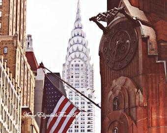 Chrysler Building, New York Photography, Art Deco,1930's, Manhatten, Skyscraper, American Flag,Historic, Architecture,Americana, Vintage Art
