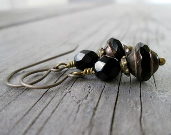 Black Earrings - Every Day Earrings - Titanium Earrings - Gift for Her - Jewelry - Handmade - Hypoallergenic Earrings - Boho Jewelry
