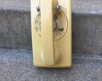 Vintage Western Electric Wall Hanging Rotary Telephone – 554 BMP – Beige Rotary Wall Phone -- Do Not Work