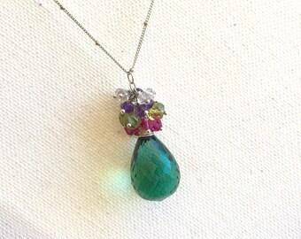 Green Amethyst Necklace Amethyst Necklace Green Gemstone Statement Necklace Green Quartz Pendant Necklace Spring Summer Gift Idea For Her