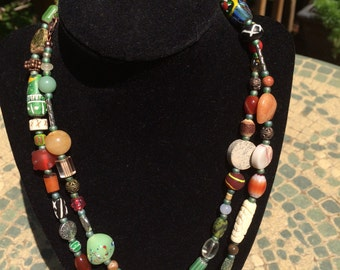 Good Karma Lucky charm necklace long beaded necklace trade bead jewelry love beads