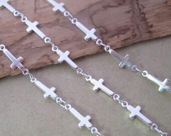 16ft  5x13mm Silver color (copper) cross shape chains