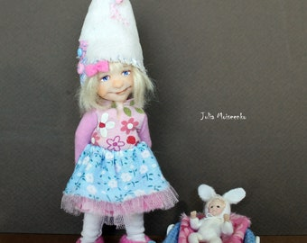 Miniature Dollhouse Gnome Girl with Rabbit dolly OOAK Head + Obitsu body + OOAK Outfit 12th Scale