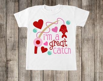 I'm a Great Catch Valentine's Day Little Kids T-shirt or Baby Onesie