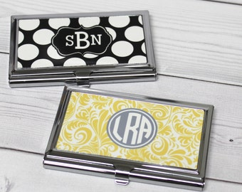 Business card case monogram business card holder personalized business card holder monogram business card case personalized gift coworker gift colourmoves Gallery
