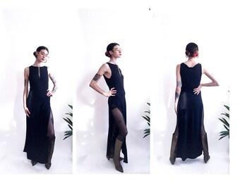 b8a3b02508e 90 s Crepe Sleeveless Fitted Double High Slit Maxi Dress - Kookai