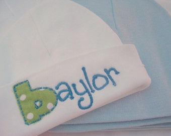 personalized boys infant name beanie, personalized boys infant hospital hat, newborn hospital hat, newborn hospital beanie, infant name hat