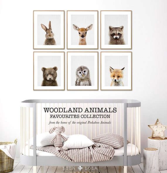 Woodland Nursery Decor Prints, Wall Art Animals, Printable Digital Download, Woodland Prints Set, Rabbit, Deer, Racoon, Bear, Owl and Fox