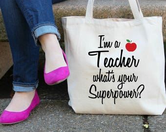 I'm a Teacher what's your Superpower XL Canvas Tote Bag
