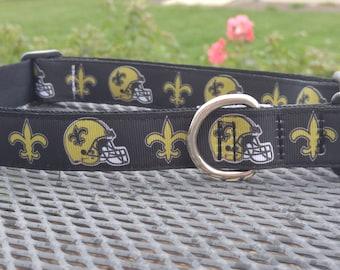 New Orleans Saints football team inspired dog collar