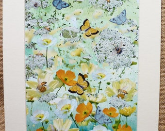 Bee Picture Bee Print Butterfly picture Butterfly print Nature Picture Nature Print Summer Scene -'High Summer' a butterflies,bees print