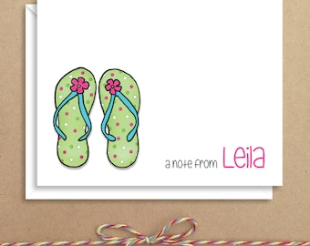 Flip Flops Note Cards - Folded Note Cards - Personalized Children's Stationery - Thank You Notes - Illustrated Note Cards