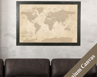 CANVAS Personalized Vintage World Travel Map - Push Pin Travel Map - Canvas Push Pin Map - Second Anniversary Gift Idea - Cotton Anniversary