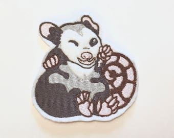 Winking Baby Opossum Embroidered Sew-on Patch