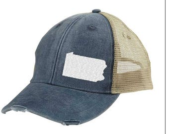Pennsylvania  Hat - Distressed Snapback Trucker Hat - off-center state pride hat - Pick your colors
