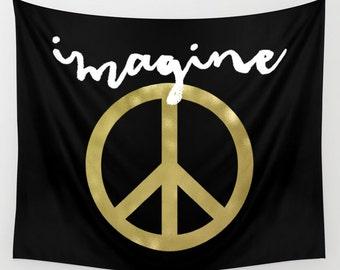 Peace Tapestry, Imagine John Lennon, Wall Hanging, Boho Tapestry, Peace Sign, Dorm Decor, Black and Gold, Black Tapestry, Dorm Tapestry