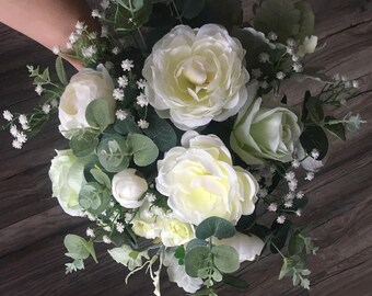 Wedding bouquet,  White roses, Bridal, Eucalyptus bouquet, Artificial flower real.Artificial rose, Artificial eucalyptus.