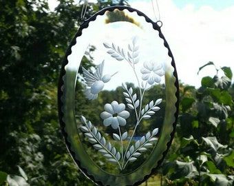 """Hummingbird 4"""" x 6"""" oval engraved clear bevel suncatcher, stone wheel engraved bevel suncatcher , BV 101A"""