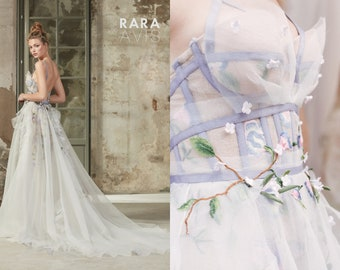 Spring flower wedding dress SELBI by RARA AVIS  with embroidery lace and handmade flowers  • Bridal gown • Wedding dress A-line