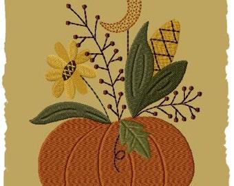 Primitive Machine Embroidery Design-Moonlite Pumpkin--Version 1--(5x7)-INSTANT DOWNLOAD