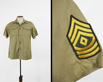 Vintage US Army Khaki Shirt 50s Twill Short Sleeve Button Up Sergeant Patches - Medium