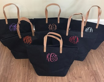 Monogrammed Tote Beach Bag Embroidered Monogram Jute Weekender Gift for Her