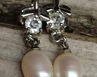 Real Pearl drop sterling silver earrings