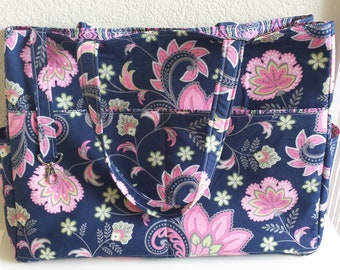 Designer Diaper Bag with 10 Pockets, a Key Fob, and Matching Changing Pad