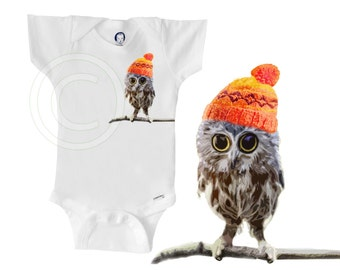 Organic owl onesie, owl wearing hat, unique gender-neutral baby clothes