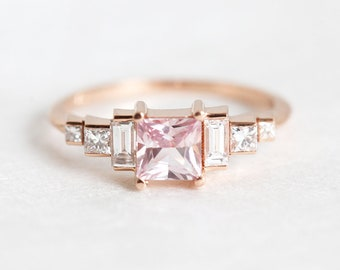 Art Deco Engagement Ring, Baguette engagement ring, Peach Sapphire Ring, Princess Ring, Pink Sapphire ring, Pink Engagement Ring, Pink Gold