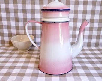 French vintage enamel coffee pot - Pink Enamel Coffee Pot - french enamelware - Enamel coffee pot - romantic cottage chic