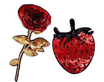 Wholesale bulk lot 20pcs  Red sequin   Rose strawberry  sew on  patch DIY