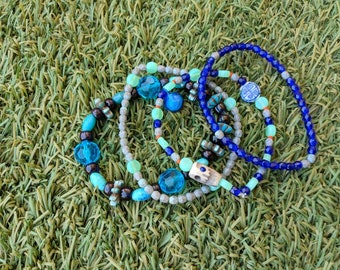 Beaded Stretchy Bracelets (Set of 4)