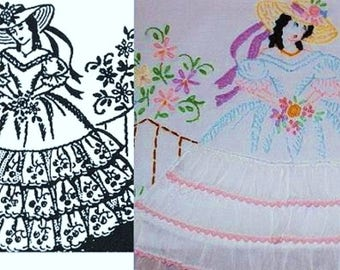 Southern Belle - Crinoline Lady pillowcase eyelet & embroidery pattern mo2107