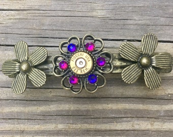 Recycled Bullet And Swarovski Crystal Bronze Daisy Hair Clip