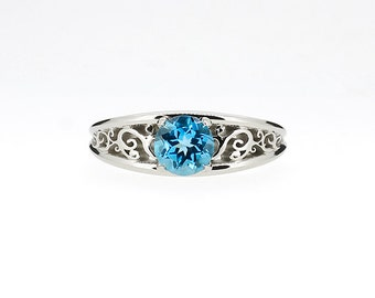 Filigree Celui engagement ring with Swiss blue topaz in white gold, solitaire engagement ring, blue topaz ring, custom, unique, filigree