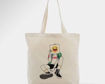 Tote bag peace, sac en toile émoticones, cadeau drôle