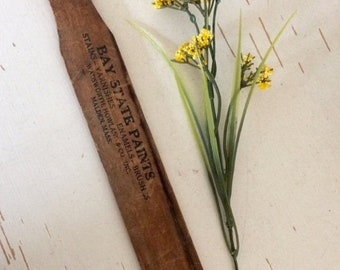 ON SALE Vintage PAINT Stick- Wooden Paint Stirrer- Bay State Paints Malden, Mass. Wood Advertising Stick