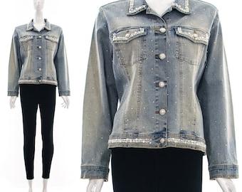 Vintage 90s DENIM JACKET Jean Coat Acid Wash Pearl and Rhinestone Studded SEAPUNK Medium Large