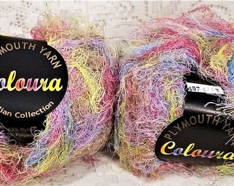 Plymouth Coloura Yarn, Metallic, Eyelash, Novelty, Sparkle, Color #607, Pink, Blue, Green, Purple, Pastel, Qty 2
