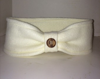 Cream colored, off white Fleece ear warmer with button embellishment, fleece winter headband with button