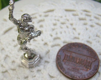 Sale...Vintage Sterling Olympic Torch Bearer Charm...3D Olympic Runner With Torch and Flowers...Bracelet...Souvenir