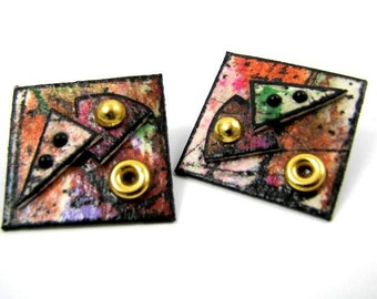 Boucles d'oreilles de vinyle fabuleusement rétro Art déco