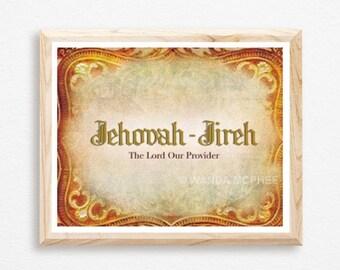 Jehovah Jireh, Jehovah, Provider, Lord, God Inspired, Family, Religious Gift, Bible Art, Christian Wall Art, Digital Art, Jesus, Faith, Art