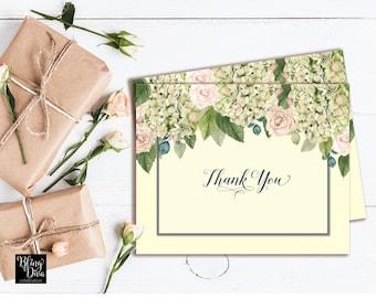 Hydrangea Thank You Card - Custom Print