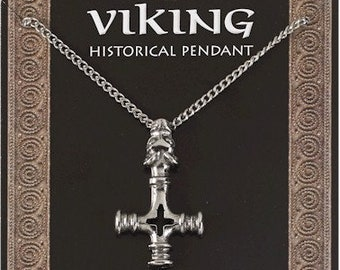 Viking Dragons Head Cross Amulet Pewter Pendant On A Chain