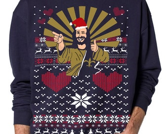 Ugly Christmas sweater -- Jesus Santa -- pullover  sweatshirt -- s m l xl xxl